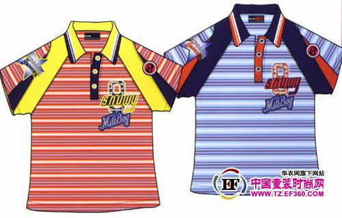 > 条纹当道 男童t恤手绘款式图2.jp