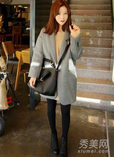 灰色外套搭配图片 穿出成熟大气感1.jpg