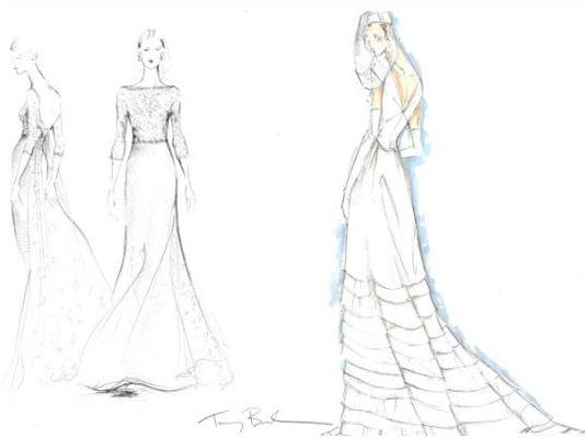 Tory Burch(左)Tommy Hilfger(右) 设计手稿   Tory Burch,美国的新锐时装设计师也拿出了她的手稿:凯特只要穿上一件简单的典雅的婚纱就很漂亮。就是那种细致的象牙色蕾丝紧身上衣搭配薄纱裙子的显出轮廓的款式,再加上一条蕾丝腰带。 Tommy Hilfger的设计师说:凯特看上去是那种老成又略显玩世不恭的时尚感,所以她的嫁纱应该是传统和诙谐主义的混合,看上去显露出古典美。