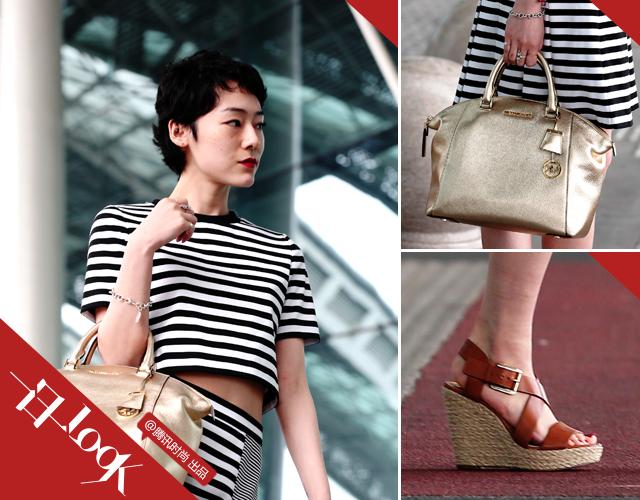 赤坂沙世短款条纹装显瘦 呈现法式风情2.png